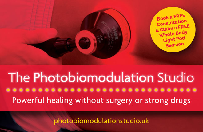 The Photobiomodulation Studio business card is part of the brand identity print media and also includes the website for the client