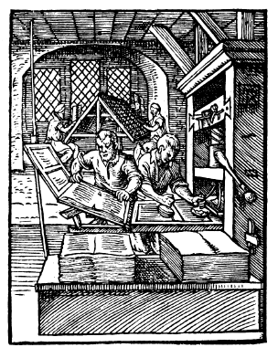 Black and white contemporary illustration of The early printing process circa 1568