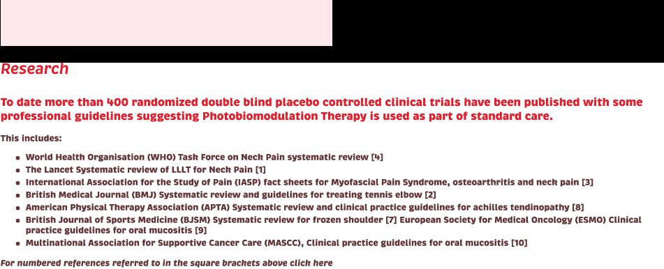 Research. WHO. Lancet. Photobiomodulation.